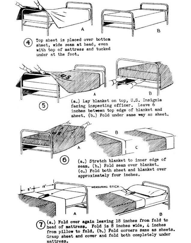 Making a bed is easier with a fitted bed sheet on the bottom but hospital corners are still the bed making technique needed to keep the top sheet fastened. First the instructions for using the hospital bed making technique that uses the traditional hospital corner, then the instructions on how to do the alternative twist and tuck technique.
