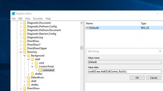 Add Control Panel (Or Any Program) To Your Right-Click Menu With a Registry Tweak