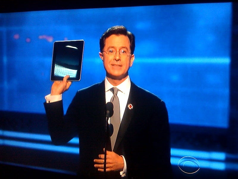 Illustration for article titled Stephen Colbert Delivers Grammy for Song of the Year From His New Apple iPad