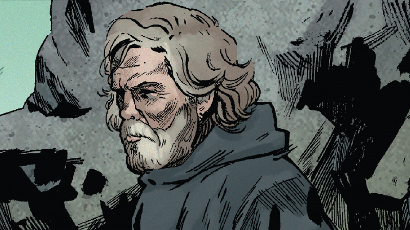 A lonely Luke Skywalker watches the seas of Ahch-To in The Last Jedi #1.