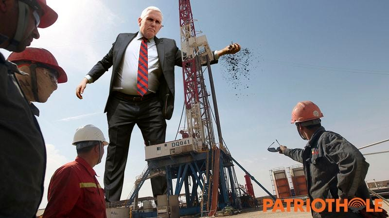 Vice President Mike Pence fighting an oil machine.
