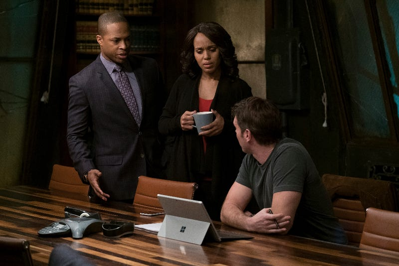 Marcus (Cornelius Smith Jr.), Olivia (Kerry Washington) and Jake (Scott Foley) come up with a plan to find Huck. (Scott Everett White/ABC)