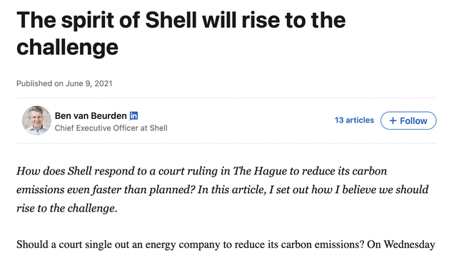 Shell's CEO Pens LinkedIn Blog Blaming You for Climate Change