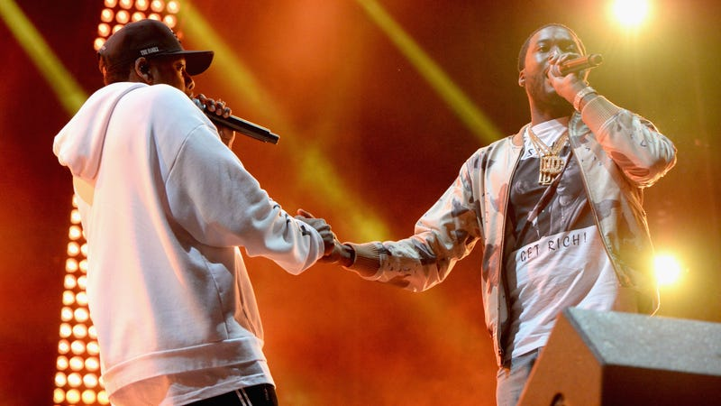 JAY-Z and Meek Mill on stage in Philadelphia in September. (Photo: Kevin Mazur/Getty Images)