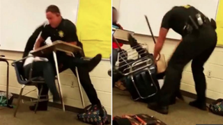 Former Richland County Sheriff's Deputy Ben Fields shown yanking a student violently from her chair in October 2015 at Spring Valley High School in South Carolina.