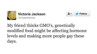 Illustration for article titled Victoria Jackson Thinks Genetically Modified Foods Are Making Us All Gay