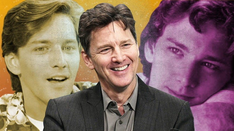 L to R: Andrew McCarthy in Weekend At Bernie's, speaking about his new novel Just Fly Away in New York in March (Photo: Slaven Vlasic/Getty Images), and in Pretty In Pink (Graphic: Nicole Antonuccio)