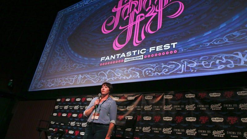 Festival director Kristen Bell addresses the audience at the opening night of Fantastic Fest. (Photo: Jack Plunkett)