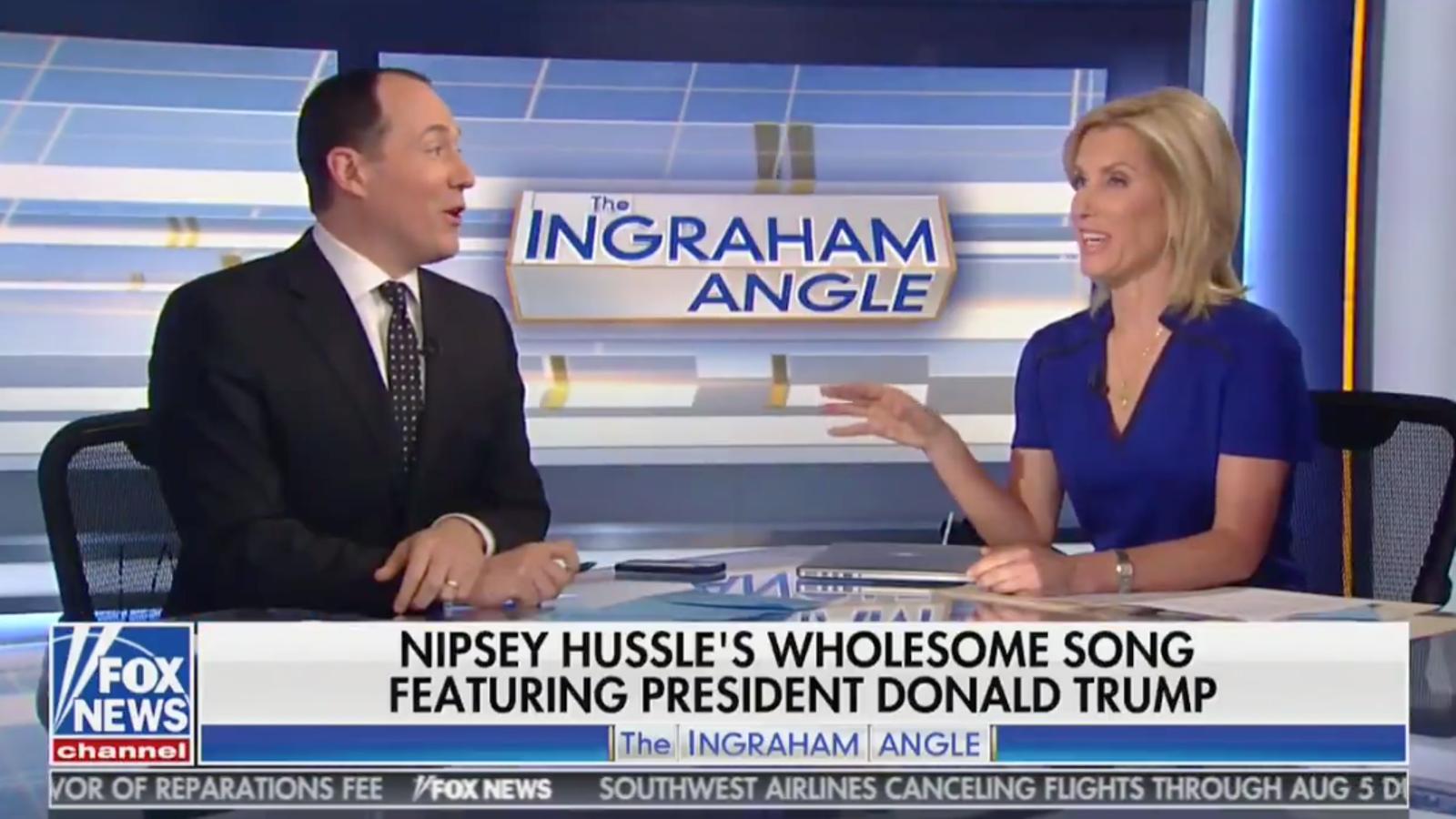 Fox News Host Laura Ingraham Jokes, Laughs During Nipsey