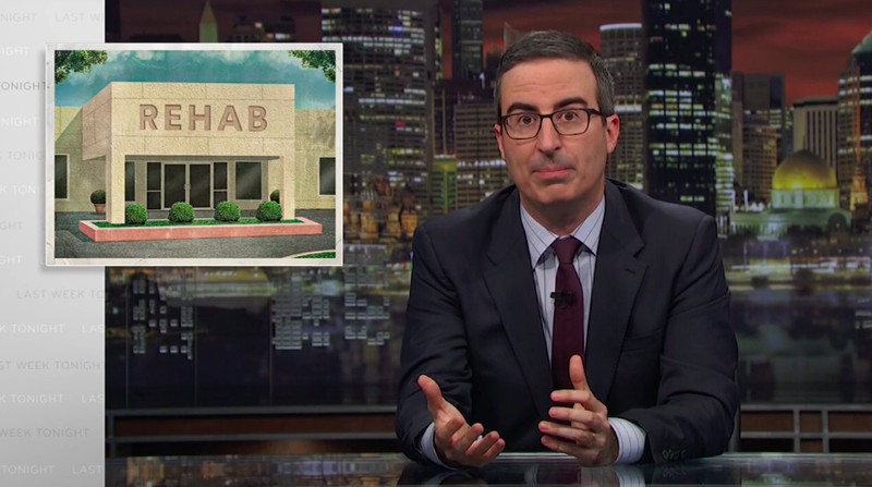 """Illustration for article titled John Oliver shows how sketchy rehabs can be about as useful as """"pissing money up a fucking wall"""""""