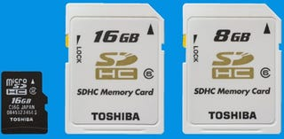 Illustration for article titled Toshiba Pops Out 16GB microSD Card, Ultra-Fast 8GB and 16GB SD Cards
