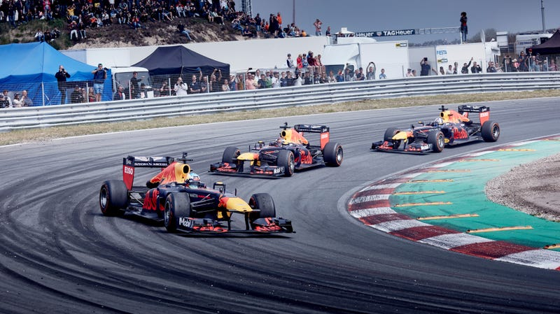 Max Verstappen during the Jumbo Racedagen, which has F1 demonstrations, at Circuit Zandvoort in 2018.