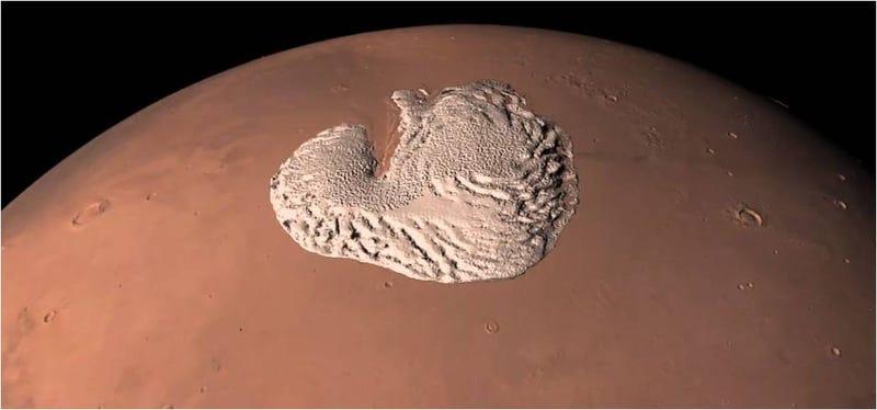 Illustration for article titled El polo norte y helado de Marte, visto en 360 grados