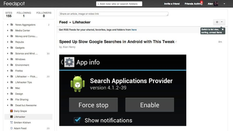 Illustration for article titled Feedspot Is a Google Reader Replacement with Tons of Sharing Features
