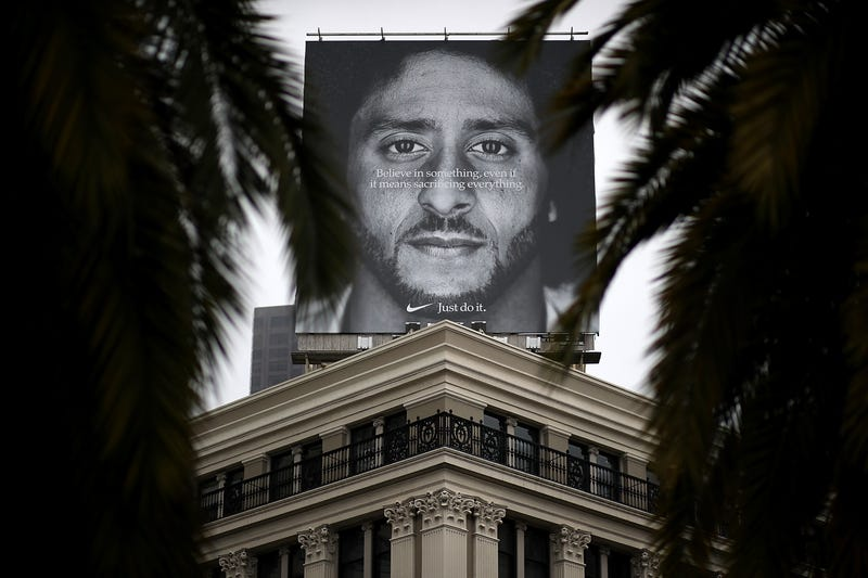 Former San Francisco 49ers quarterback Colin Kaepernick is displayed on the roof of the Nike Store on September 5, 2018 in San Francisco, California.
