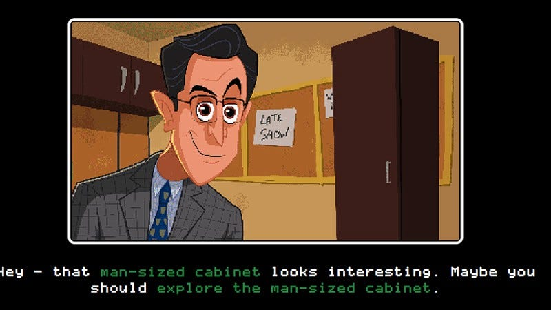 Illustration for article titled Kill some time with Stephen Colbert's new game, Escape From The Man-Sized Cabinet