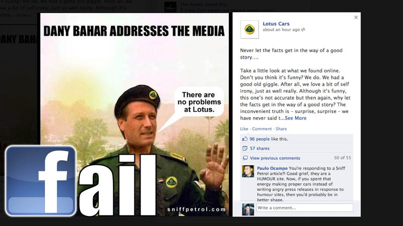 Illustration for article titled Lotus Just Turned A Joke Into A PR Disaster On Facebook