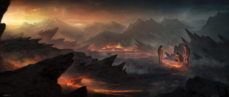Illustration for article titled Concept Art Writing Prompt: When Scientists Gather on the Volcano Planet