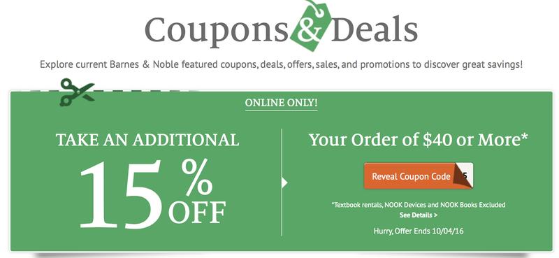 15% off $40 Barnes & Noble order, promo code BNOCTOBER15