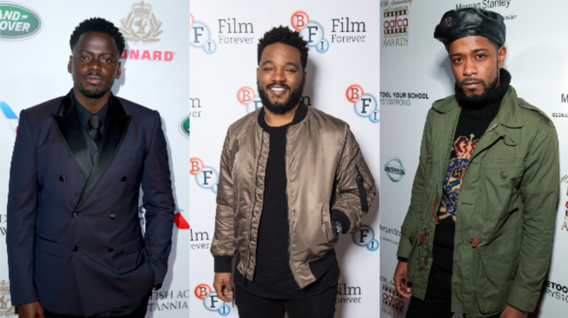 (L-R): Daniel Kaluuya attends the 2018 British Academy Britannia Awards presented by Jaguar Land Rover and American Airlines on October 26, 2018 in Beverly Hills, California. ; Director Ryan Coogler attends the 'Black Panther' BFI preview screening held on February 9, 2018 in London, England. ; Lakeith Stanfield attends the 10th annual AAFCA Awards on February 06, 2019 in Los Angeles, California.