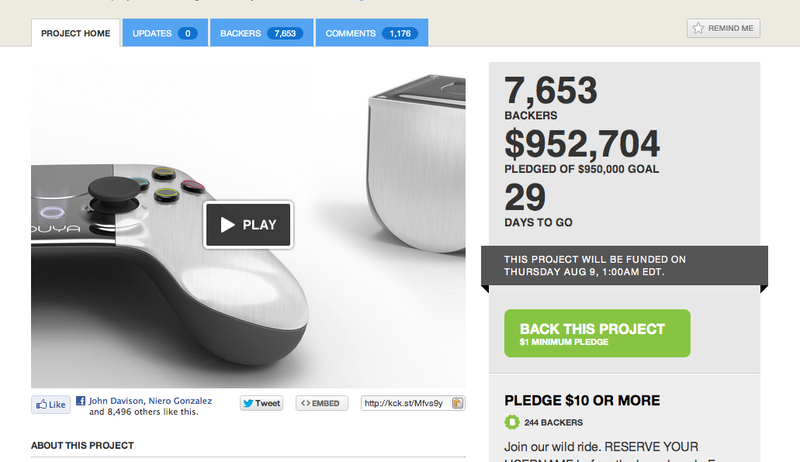 Illustration for article titled $99 Ouya Console Just Hit Its $950,000 Kickstarter Goal After Only Eight Hours