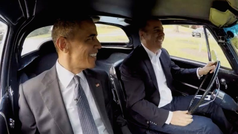 Illustration for article titled Watch Barack Obama and Jerry Seinfeld Drink Coffee in an Expensive Car