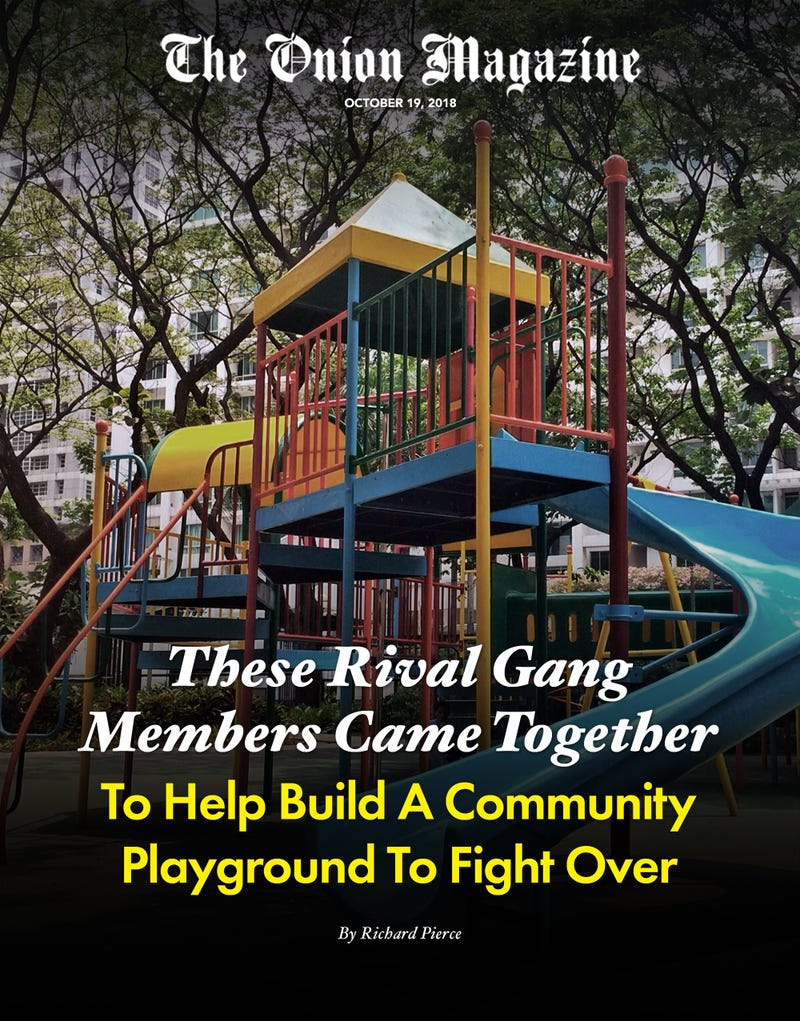 Illustration for article titled These Rival Gang Members Came Together To Help Build A Community Playground To Fight Over