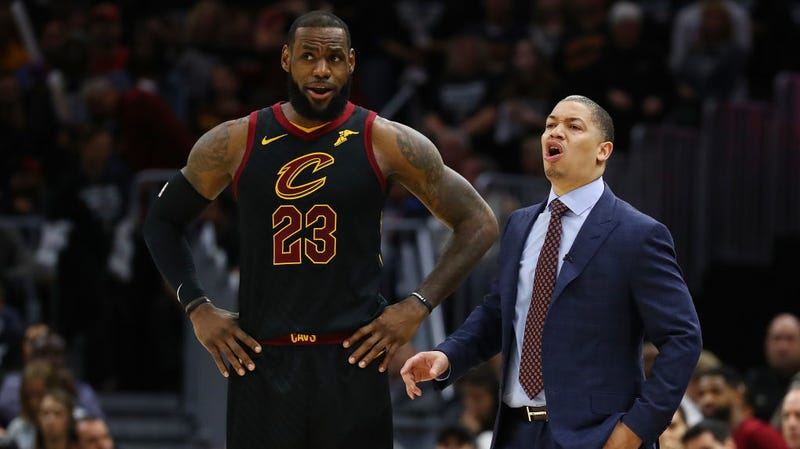 "Illustration for article titled LeBronWatch: Tyronn Lue's Posture Crumbles Upon Hearing The Words ""LeBron James"""