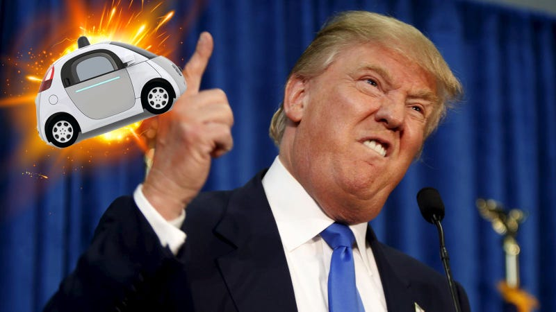 Illustration for article titled Like Most Americans, Trump Is Apparently Afraid of Self-Driving Cars