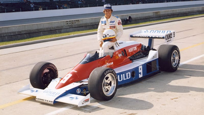 Pictured is Rick Mears in his Penske-run car at the 1979 Indy 500, which he would go on to win after being initially barred from the race over the then still-ongoing split between USAC and six breakaway CART teams, Penske being one of them.