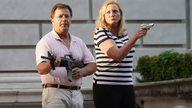 """Meet the """"Gun Couple,"""" 2020's firearm-toting, protester-fearing version of American Gothic"""