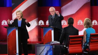 Democratic presidential candidates Hillary Clinton and Sen. Bernie Sanders field questions from the moderators during the Democratic Debate on Jan. 17, 2016, in Charleston, S.C.Andrew Burton/Getty Images