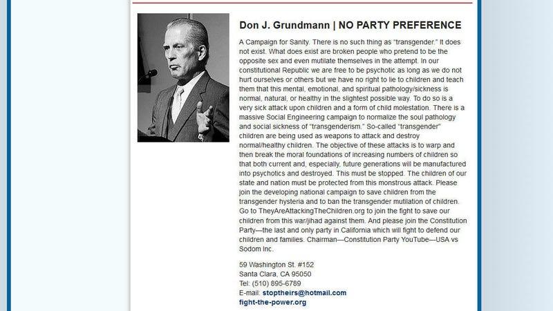 Illustration for article titled Don J. Grundmann for U.S. Senate: NOPE
