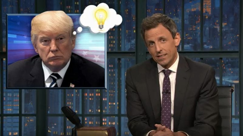 Illustration for article titled Seth Meyers stays focused on how the Trump-Russia excuses keep getting fuzzier