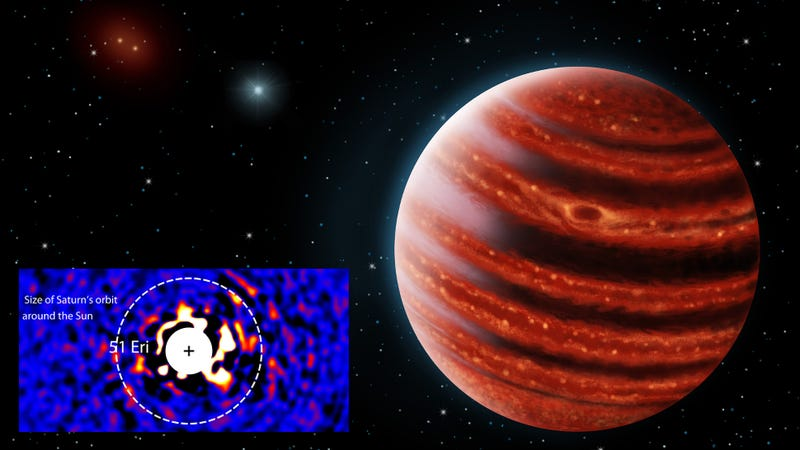 """Illustration for article titled Newly Discovered """"Baby Jupiter"""" is the Lightest Planet Ever Imaged by Telescope"""