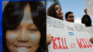 """Screenshot of Renisha McBride; Floridians protest """"Stand your ground"""" gun laws in 2012.Joe Raedle/Getty Images"""