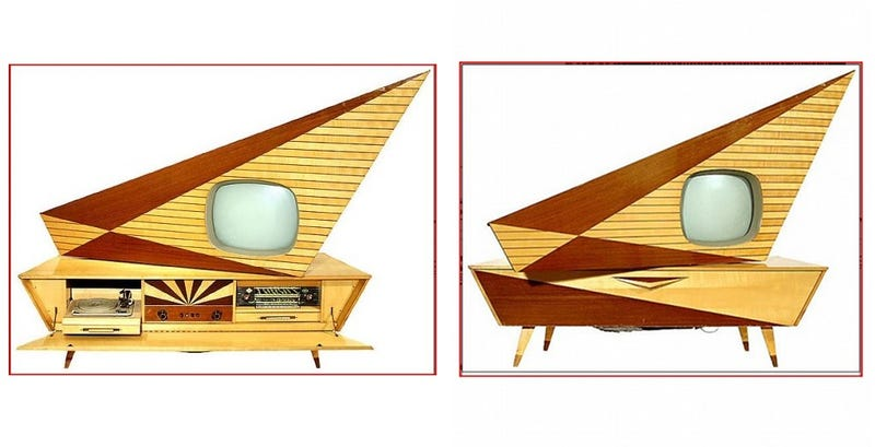Illustration for article titled This Pointy, Swivelling TV Was the 84-Inch 4K Flatscreen of Its Day