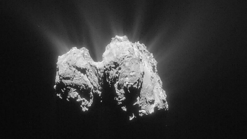 """Illustration for article titled Un nuevo estudio explica por qué el cometa 67/P tiene forma de """"pato"""""""