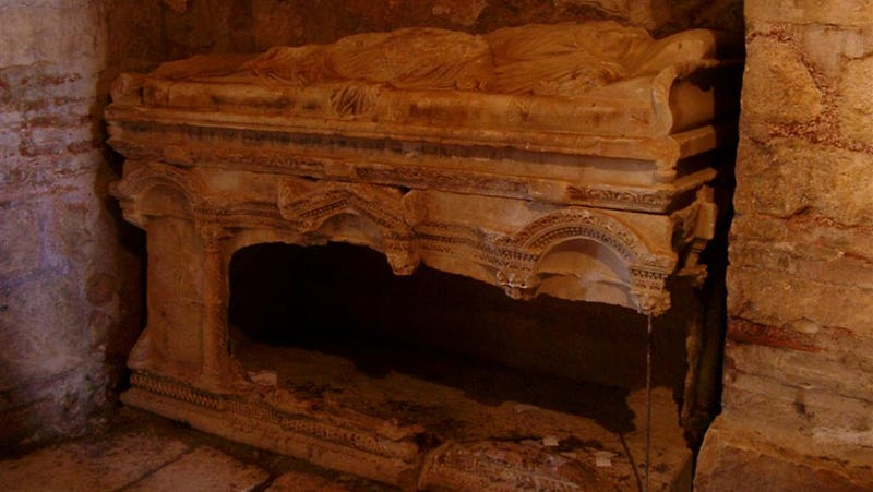 What was believed to be the desecrated sarcophagus of St. Nicholas Photo: Wikimedia