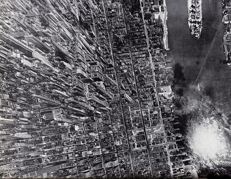 Illustration for article titled Spectacular aerial view of Manhattan in 1944