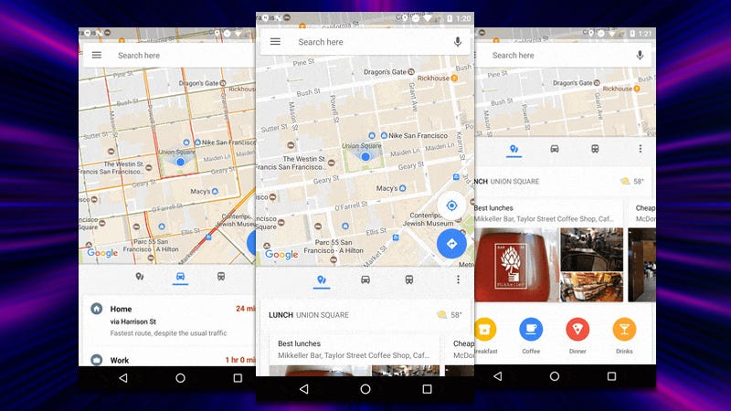 Illustration for article titled Google Maps Update Adds a Bottom Bar With Transit Info, Nearby Places, and More