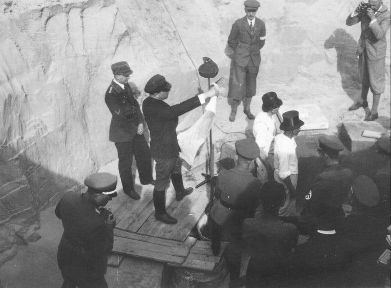 Nazis in Poland hold a ceremony before burying the time capsule in 1934 (Historical photo via Gawex.pl and Sebastian Kuropatnicki)