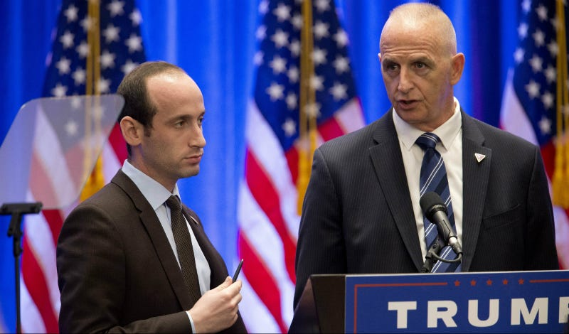 Stephen Miller, left, senior policy adviser, and Keith Schiller, chief of security for Trump appear on stage before his arrival, Wednesday, June 22, 2016, in New York. Photo via AP