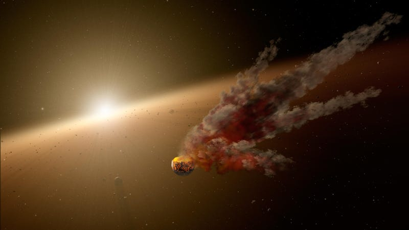 Artist's impression of a cataclysmic collision between two large planetary bodies.