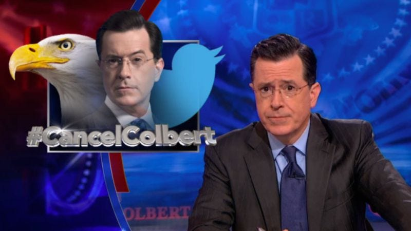 Illustration for article titled Stephen Colbert responds to Twitter satire controversy with more satire on Twitter