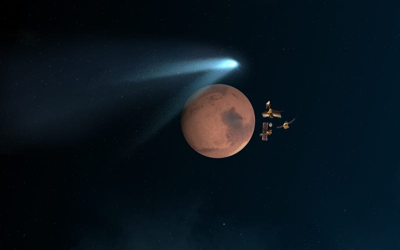 Illustration for article titled Mars Orbiters Survive Unprecedented Encounter With Comet Siding Spring
