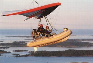 Illustration for article titled Dinghy + Hang Glider + Giant Engine = Hilarious Obituary