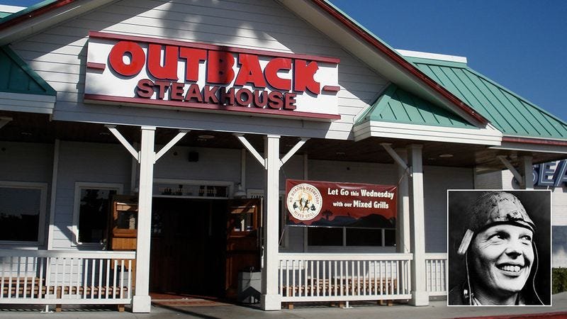 The outside of an Outback Steakhouse restaurant.