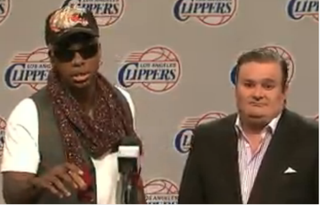 Dennis Rodman appears in a sketch with SNL cast member Bobby MoynihanSaturday Night Live Screenshot