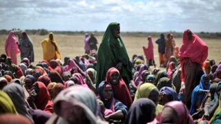 Internally displaced women waiting at a food-distribution center in Afgoye, Somalia, on Aug. 4, 2013.Tobin Jones/Getty Images
